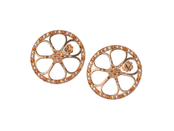 Vanessa Martinelli Orange Pop earrings pink gold colored stones topaz sapphires diamonds