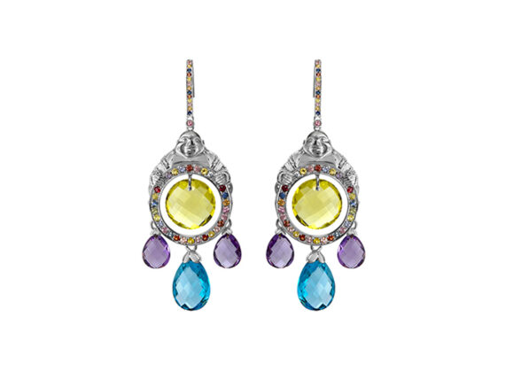 Vanessa Martinelli Buddha love earrings colored stones