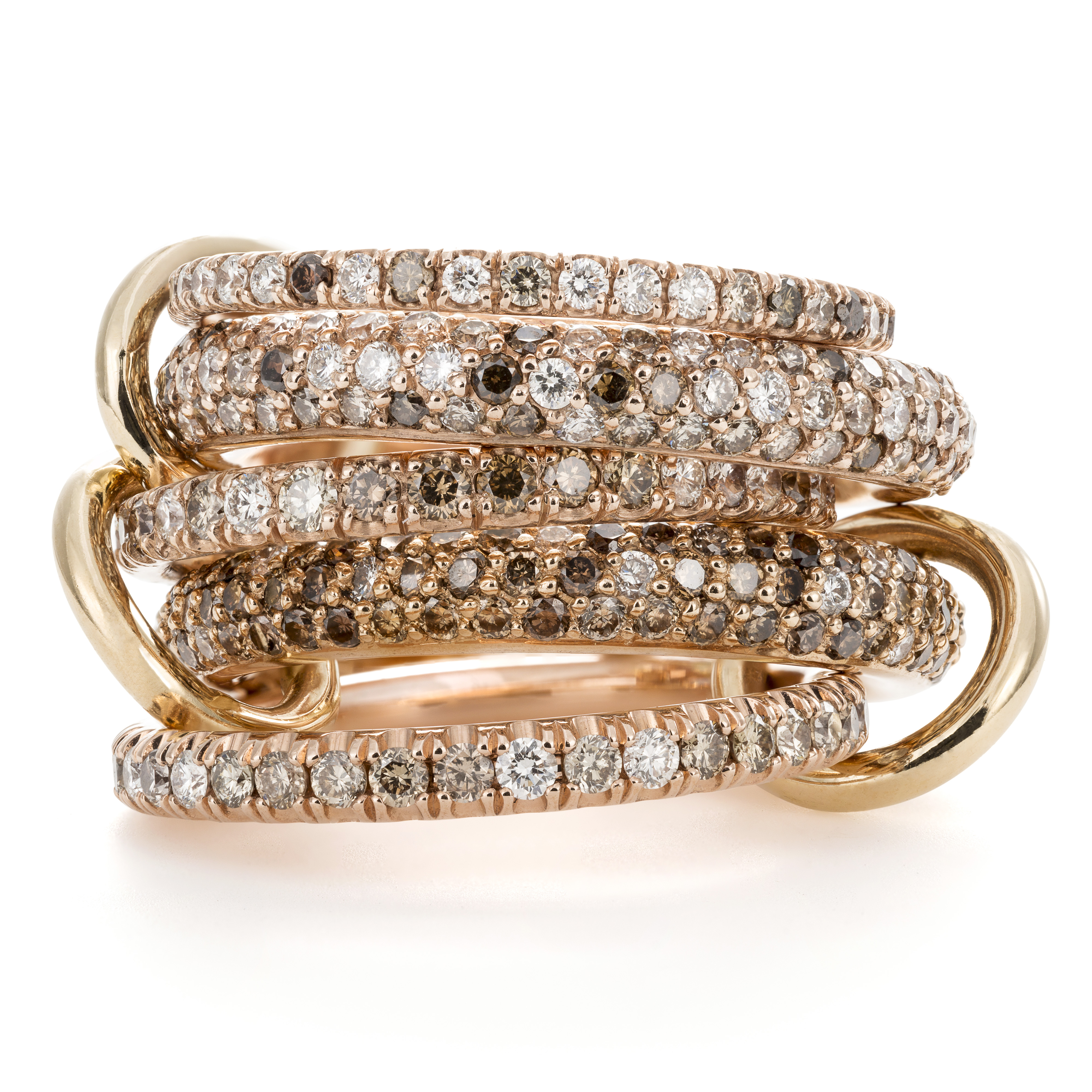Spinelli Kilcollin Vela ring mounted on pink gold with diamonds