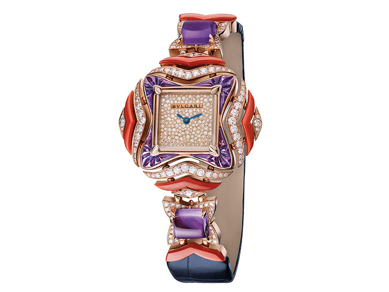 Bvlgari Diva - Giardini Italiani Collection - in red gold set with diamonds and amethysts