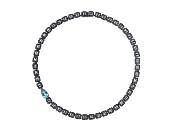 Nikos Koulis From Oui collection Necklace with white diamonds, paraiba and grey enamel frame