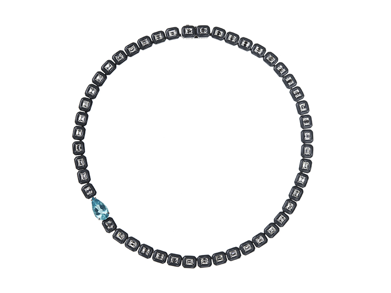 Nikos Koulis  Oui necklace with white diamonds, paraiba and grey enamel frame