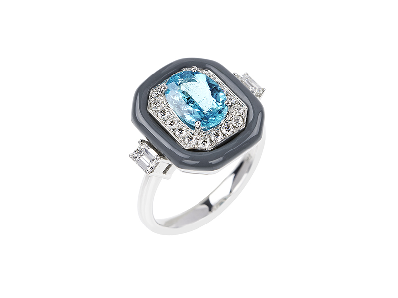 Nikos Koulis Oui ring mounted on white gold with white diamonds, paraiba and grey enamel