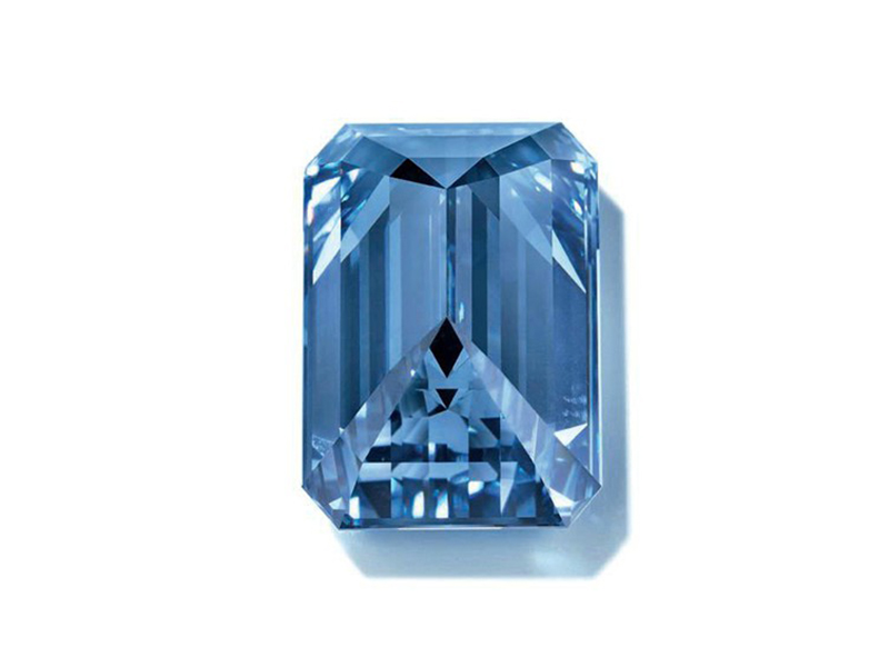 Oppenheimer Blue Diamond The world's largest blue diamond weighting 14,62 Carats. This extremely rare gem was sold for 57.54 Millions of Euros at the Christie's Geneva auction on May 18th of 2016.