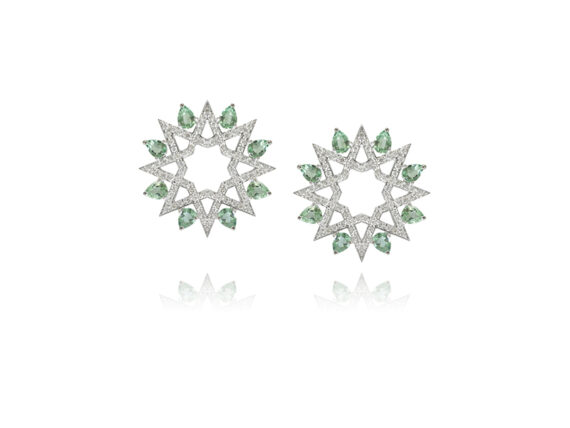 Ralph Masri Arabesque Deco earrings mounted on white gold with diamonds and brasilites