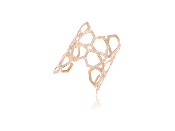 Ralph Masri Arabesque Deco cuff mounted on rose gold with pink diamonds