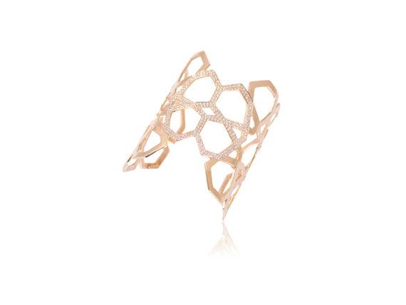 Ralph Masri Arabesque Deco cuff mounted on rose gold with pink diamonds