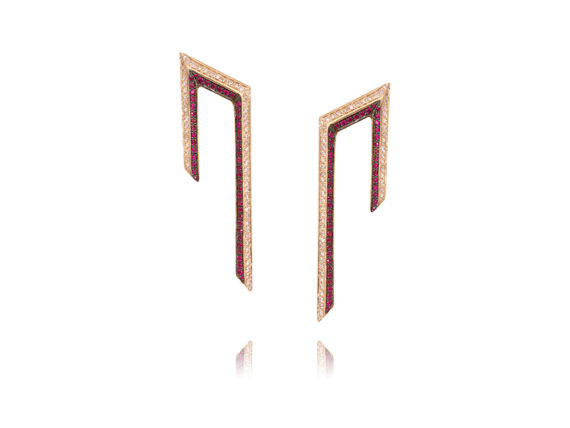 Ralph Masri Phoenician Script collection earrings mounted on rose gold with pink diamonds and rubies