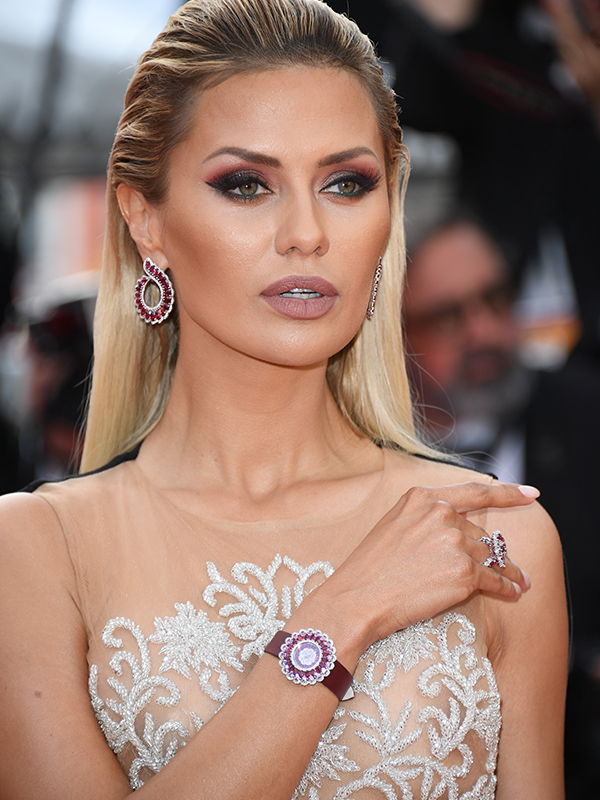 Chopard Victoria Bonya wore Precious Chopard ruby and diamond earrings with matching ring. cannes 2017 red carpet