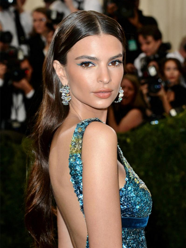 Kimberly McDonald Emily Ratajkowski wore opal and diamond hoops earrings.