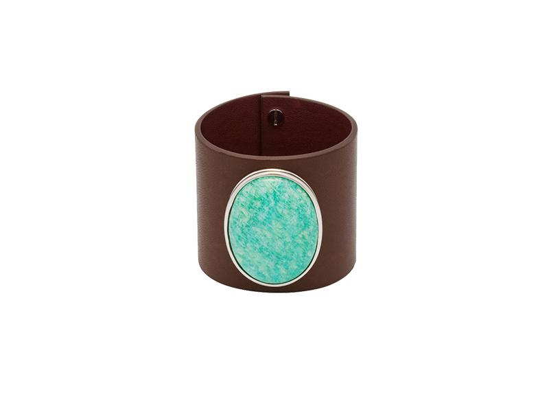 Hélène Prime Chocolate leather cuff withAmazonite