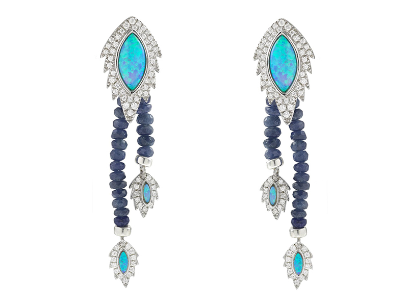 Aaron Jah Stone Phoenix Collection - Earrings set with black opals paved with diamonds