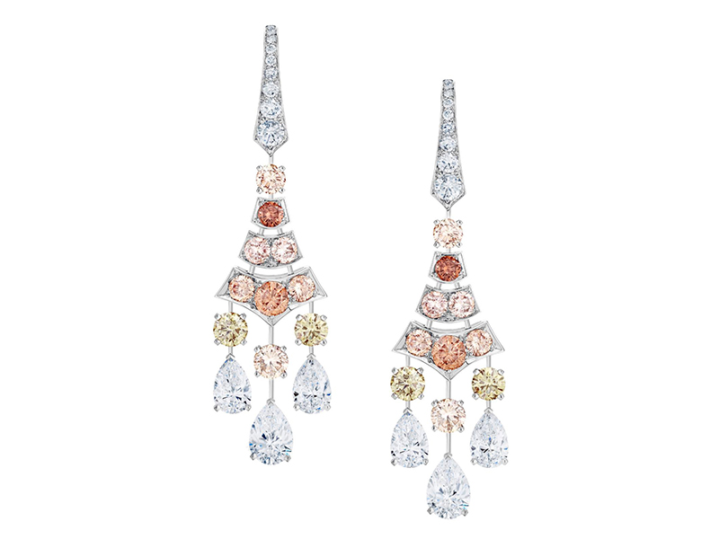 De Beers Sunrise Frost Earrings mounted on white gold with colored diamonds
