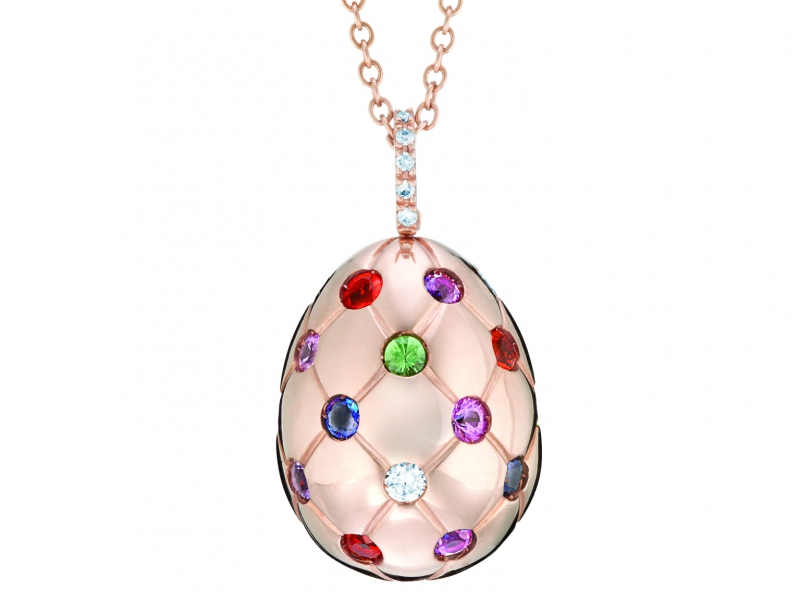 Faberge Treillage Collection - Egg pendant with multi-colored stones set on rose gold