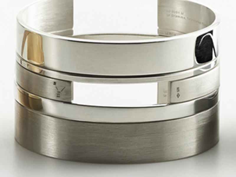 6- Le Gramme An architectural bracelet made unique thanks to its basis weight ( echoing the weight of a person wearing it).  Le Gramme bracelet is a true concept available in a variety of gold or sterling silver.  (~ 750 Euros)