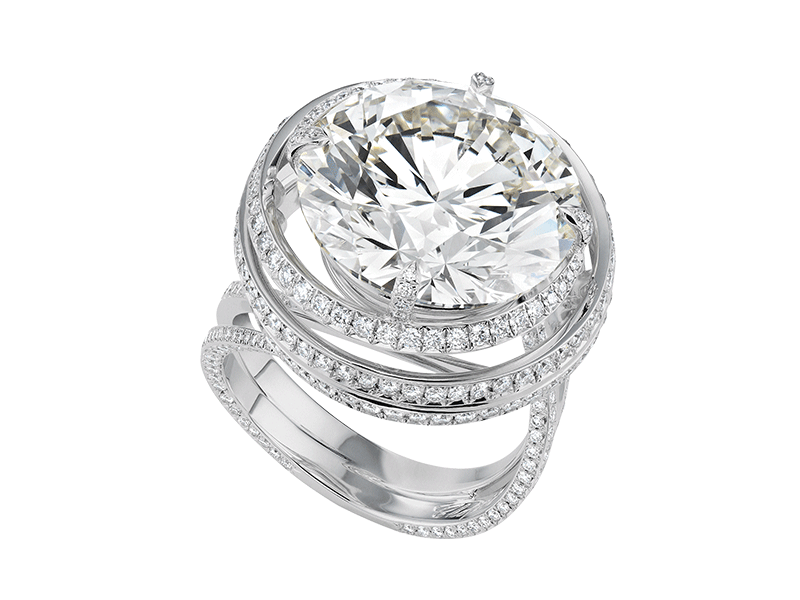Chopard A white gold ring set with a central diamond of 3 carats and surrounded by 13 carats of diamonds