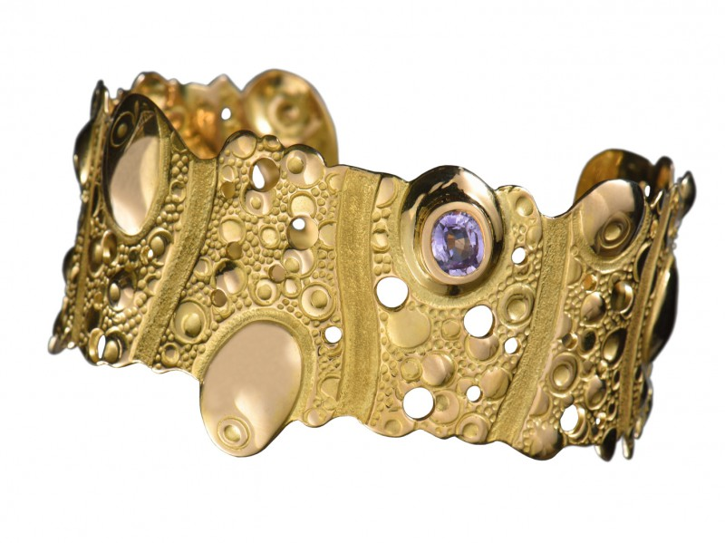 Ciska Collection Composition - bangle set on yellow gold with semi-precious stones