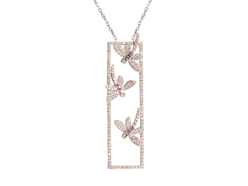 Malakine Rectangular Butterly pendant set on white gold with diamonds