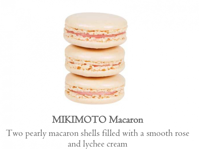 Mikimoto macaron two pearly macaron shells filled with a smooth rose and lychee cream