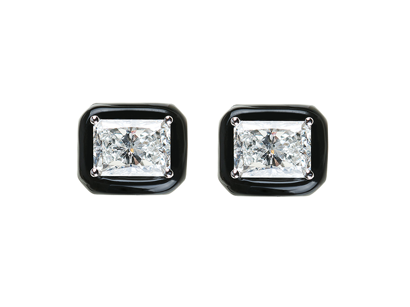 Nikos Koulis Oui earrings with black enamel and diamonds