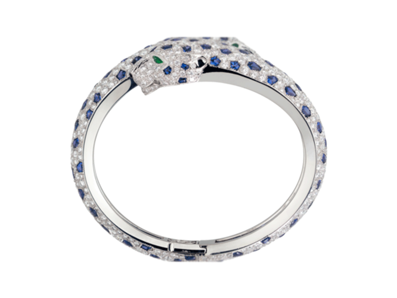 5- Cartier- Panthere Bracelet Mounted on platinum, the bracelet is set in platinum with diamonds, sapphires, emeralds and onyx