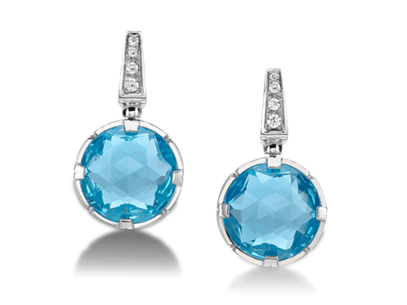 3- Bulgari- Parentesi Earrings Cocktail earrings set in white gold 18 carats with blue topaz and paved with diamonds.
