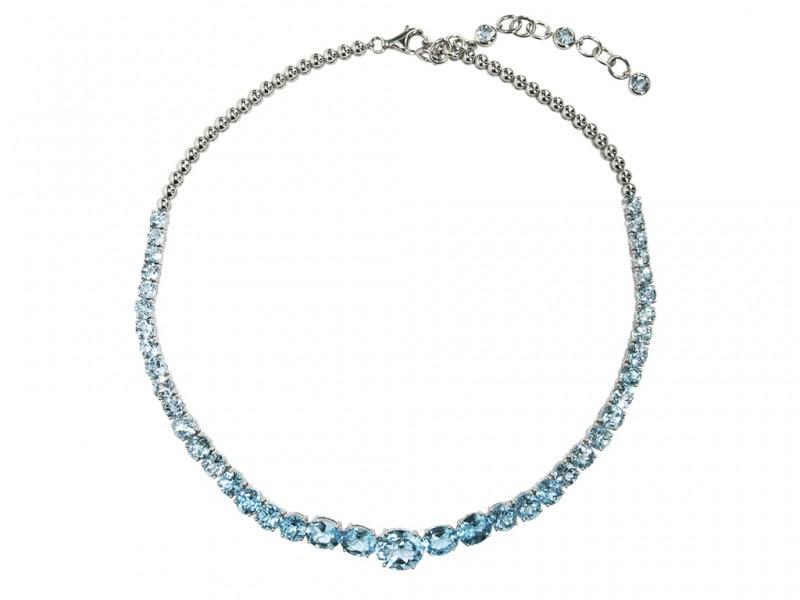 6- Plukka - Tout Droit Sky Blue Topaz & Silver Necklace.  ~ 650.- Euros