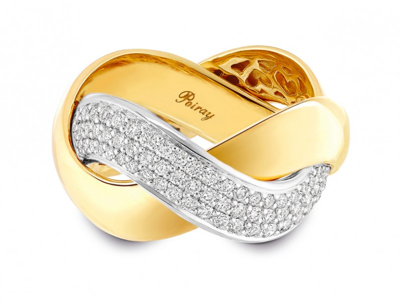 Tresse Ring Yellow gold - White gold Little model WHITE GOLD / YELLOW GOLD SMALL MODEL RING, YELLOW GOLD AND WHITE GOLD WITH DIAMONDS