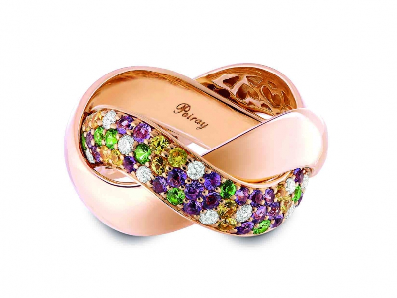 Poiray Tresse Collection - Tutti Frutti ring set on rose gold with diamonds and colored sapphires