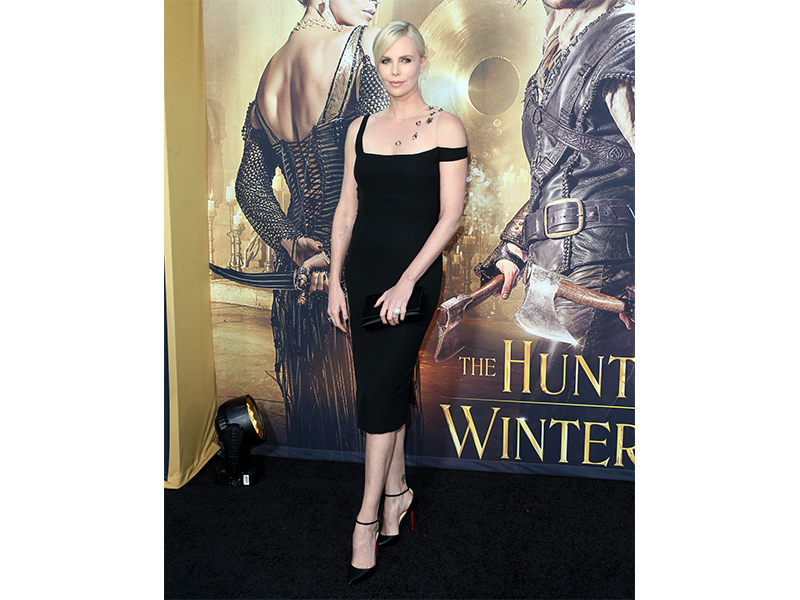 "Harry Winston Charlize Theron wearing Harry Winston Diamonds to the Los Angeles premiere of ""The Huntsman: Winter's War"""