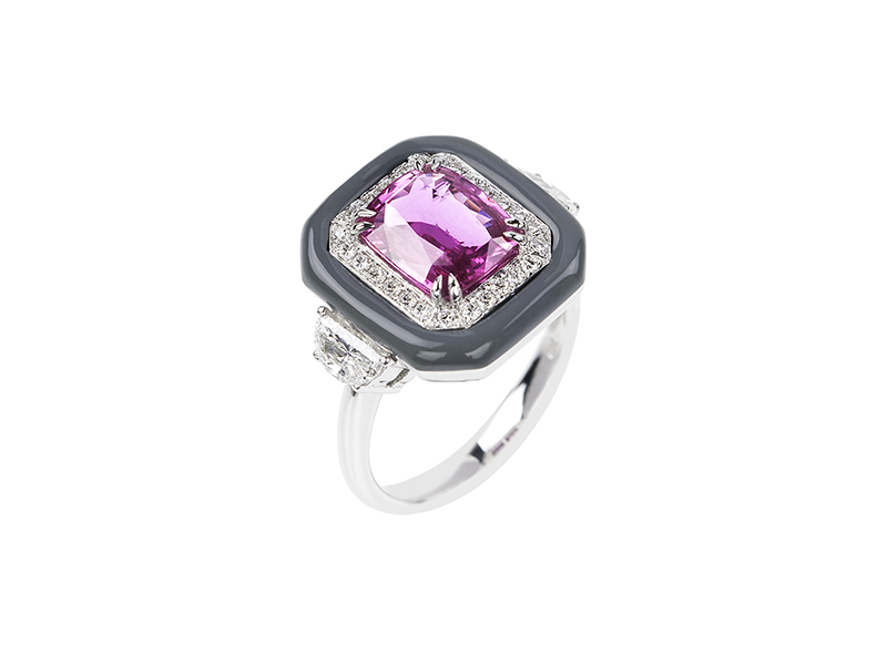 Nikos Koulis  Oui ring mounted on white gold with white diamonds, pink sapphire and grey enamel