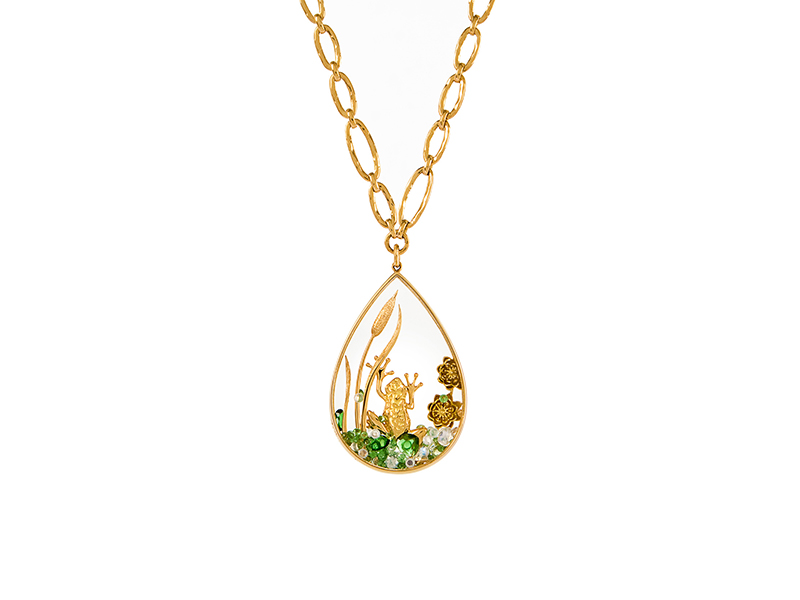 Alexandra Abramczyk Moonstone necklace and frog pendant mounted on yellow gold with diamonds and tsavorites