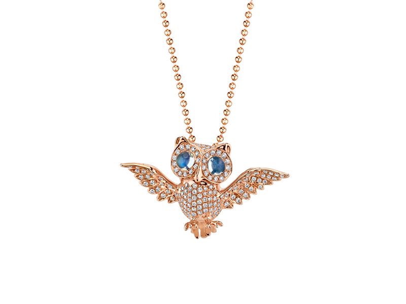 Anita Ko Diamonds and moonstone owl necklace