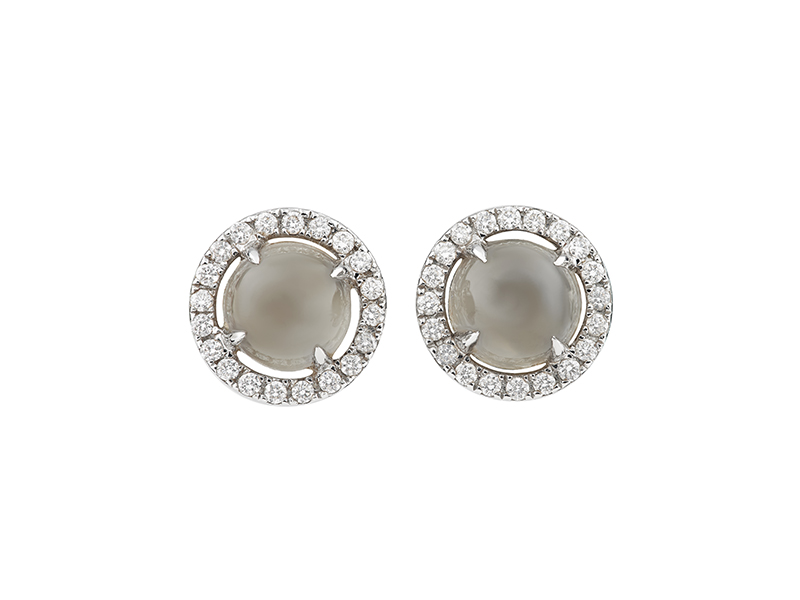 Etername Eternelle puce mounted on white gold with diamonds and moonstone earrings