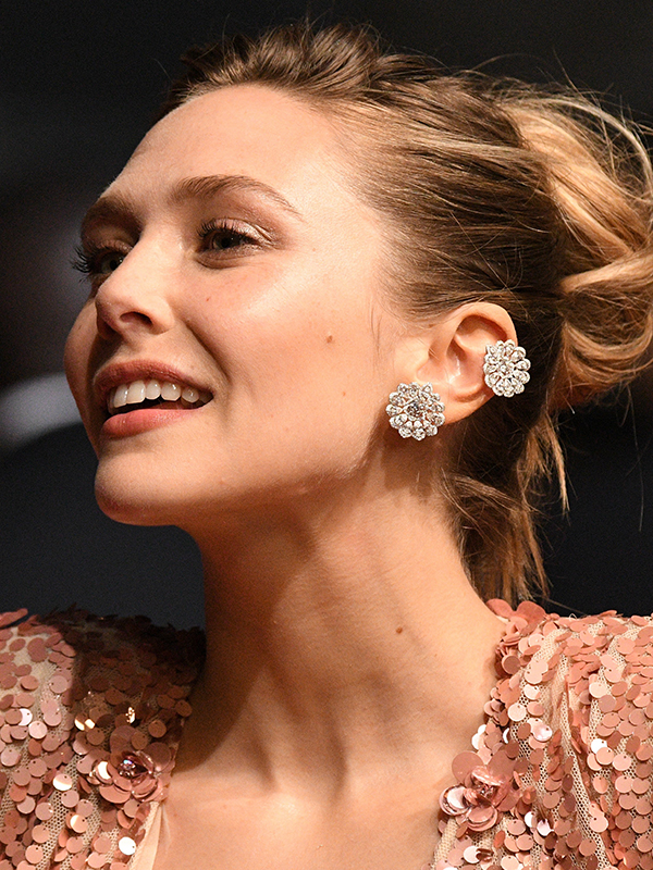 Chopard Elizabeth Olsen wore diamond High Jewellery earrings by Chopard. Cannes red carpet 2017