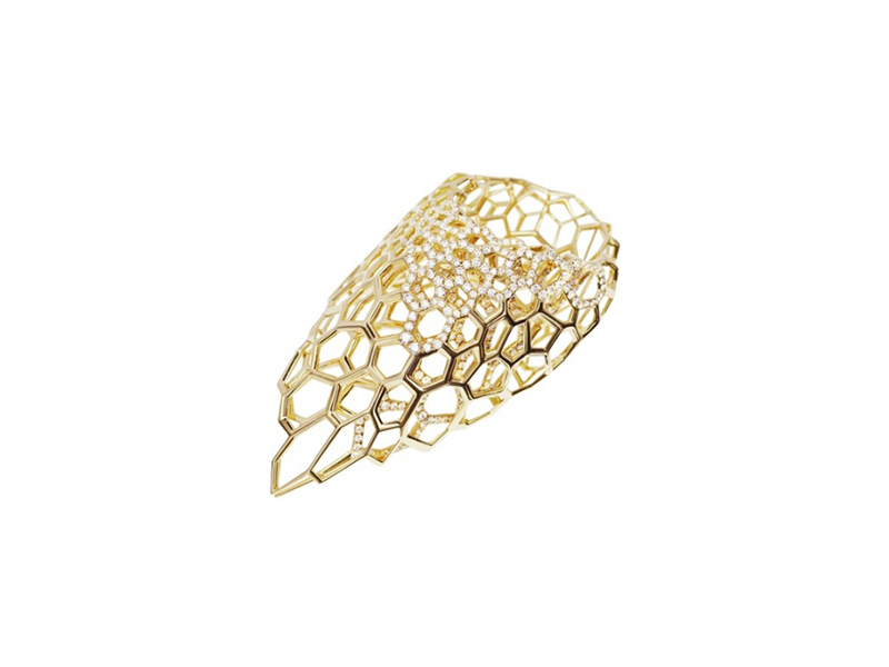 Zaha Hadid for Caspita Skein ring mounted on yellow gold with diamonds