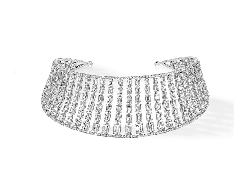Messika Choker Emerald Cut mounted on white gold with emerald-cut diamonds