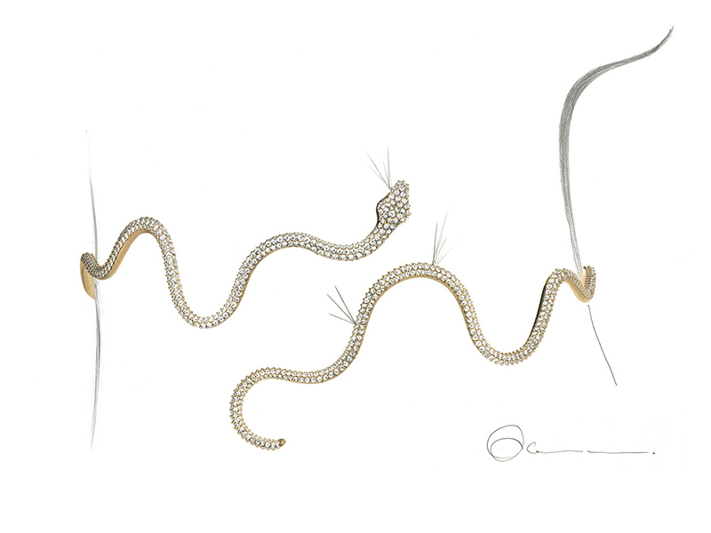Ole Lynggaard Copenhagen Snake choker mounted on 18k yellow gold with diamonds