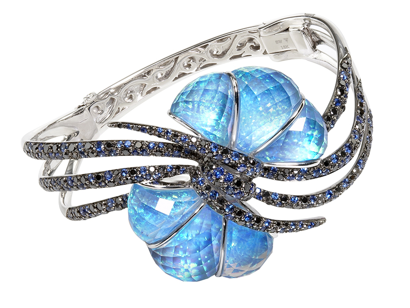 Stephen Webster 'Forget Me Knot' Bow Crystal Haze Cuff mounted on 18ct white gold with black opal