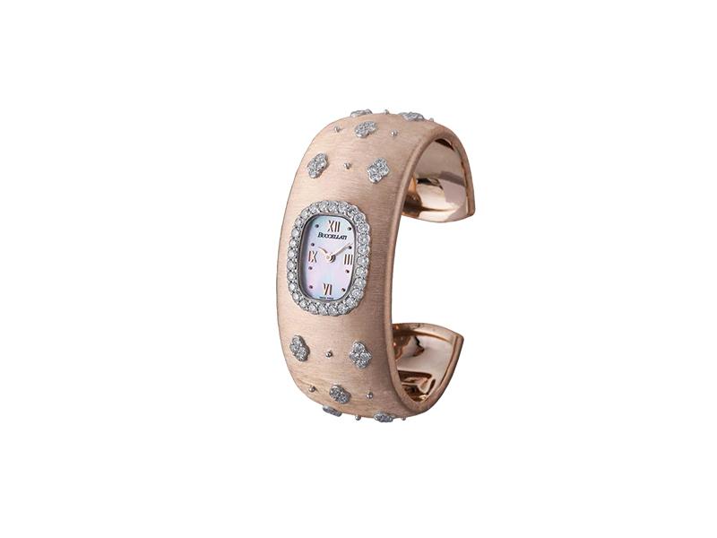 Buccelati Pink cuff diamonds watch
