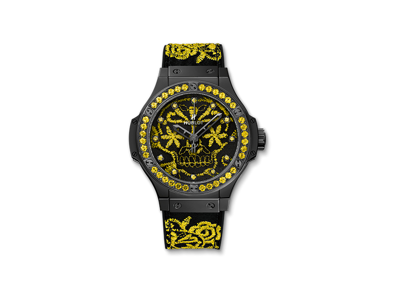 Hublot Big Bang Broderie Sugar Skull Fluo Sunflower watch yellow black