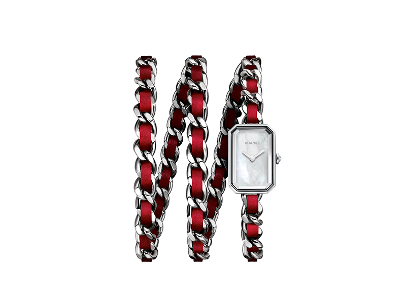 Chanel Premier Rock red with double strap watch