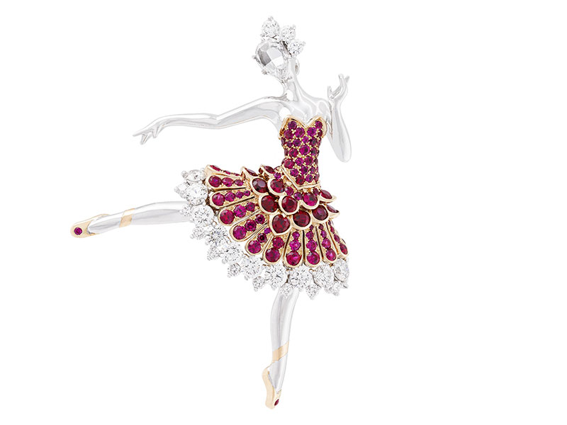 Van Cleef & Arpels (a) Ballerina Clip, in white gold with round diamonds, one rose-cut diamond, pink gold and round rubies, 2015 Collection