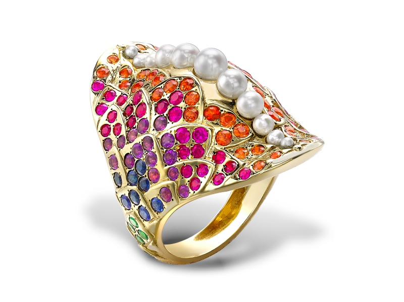 Venyx World Una Rainbow ring with pearls, colored sapphires on yellow gold