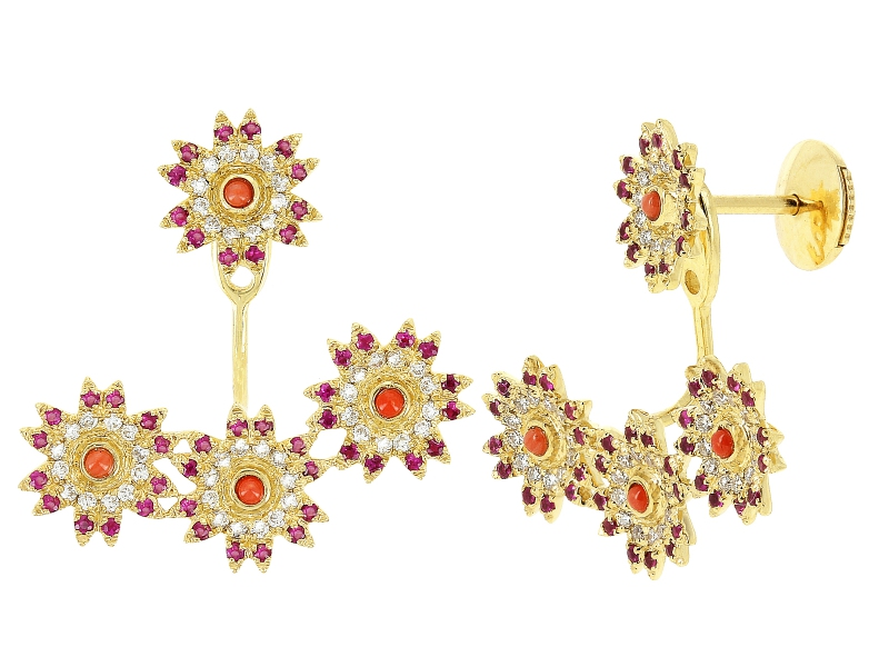 Yvonne Leon Yellow Gold Daisy earring set with rubies and diamonds