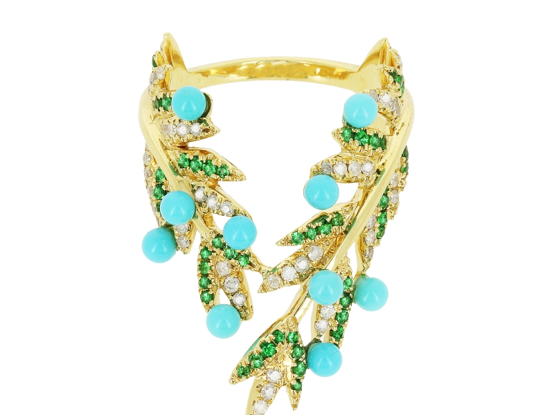 Yvonne Leon Turquoise, Diamonds and Tsavorite leaf ring mounted on yellow gold