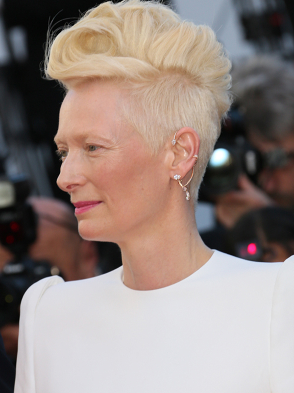 Repossi Tilda Swinton wore Repossi Pendeluum earrings. Cannes red carpet 2017