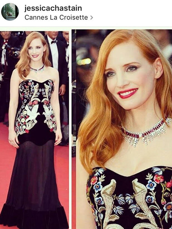 Piaget Jessica Chastain wore Sun On Fire necklace mounted on white gold set with 1 pear-shaped diamond, rubies and diamonds with Sun On Fire ring.