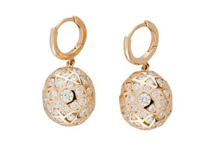 Aude Lechère From Oursin collection - Earrings mounted on yellow gold with diamonds