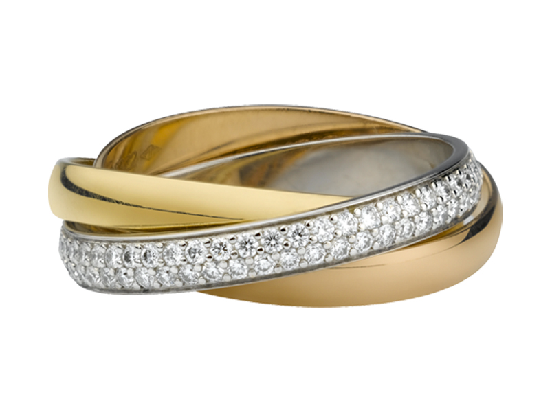 TRINITY RING by Cartier, SMALL MODEL WHITE GOLD, YELLOW GOLD, PINK GOLD, DIAMONDS